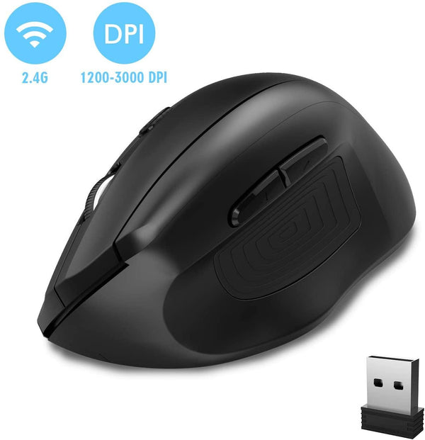 DBPOWER WM-791 2.4G Vertical Ergonomic Optical Wireless Gaming Mouse with 4 DPI 3000-1200 (Adjustable) USB Nano Receiver 6 Buttons – [Black]