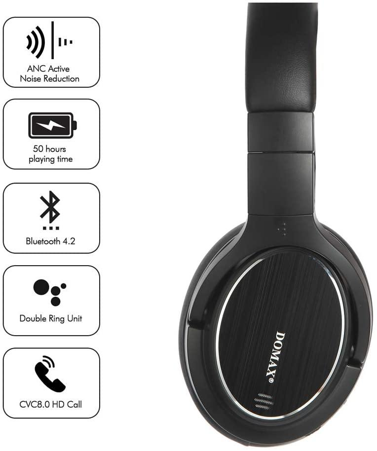 DOMAX Wireless ANC Bluetooth V4.1 Headphones Model: M1 (Black)