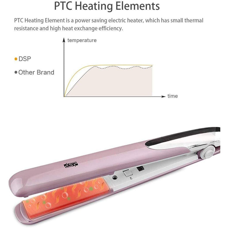 DSP Professional Hair Straighteners 3D Floating Plate Constant Heat, 30W - Model: 10049 (White)