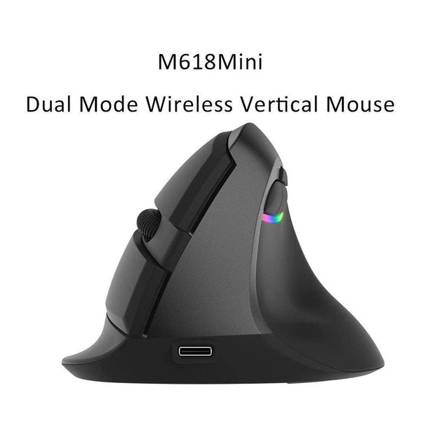 Delux Gaming Vertical Rechargeable Wireless Bluetooth 2.4G Mouse- Model: M618 Mini (Black)