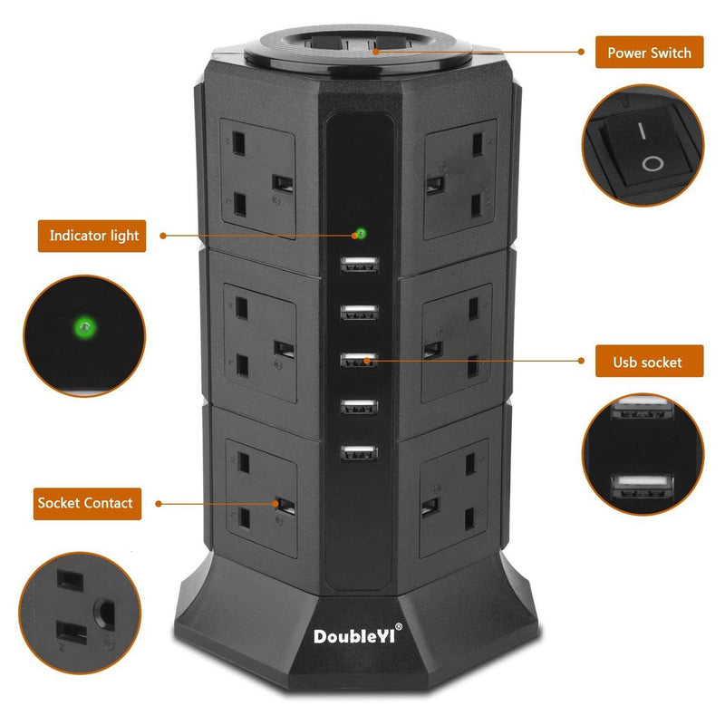 DoubleYI 12 Way Outlet & 5 Ports USB Lead Socket With 2 Power Button - (Black)