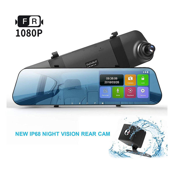 "DuDuBell Dash Cam, 4.3"" Touch Screen Mirror Dash Cam, Dual Dash Cam with 1080P Front cam and IP 68 Waterproof LED Rear Cam, 290 Degree Wide Angle DVR-Model: MC100 - (Black)"