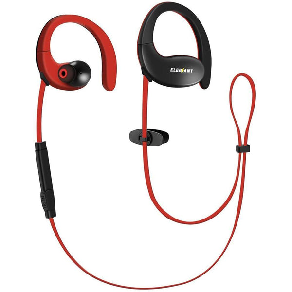 ELEGIANT Sports Wireless Earphones 4.1V with Mic [Red/Black]