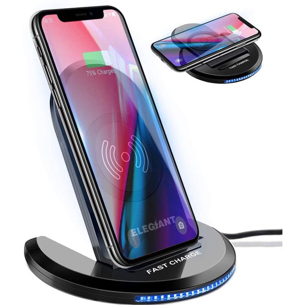ELEGIANT U8 Qi Wireless Charger 5W/7.5W/10W [Black] - DealsnLots