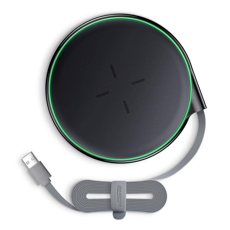 ESR Ultra-Slim Wireless Charger (10W-5W)-Model:ECW1 (Black-Green)