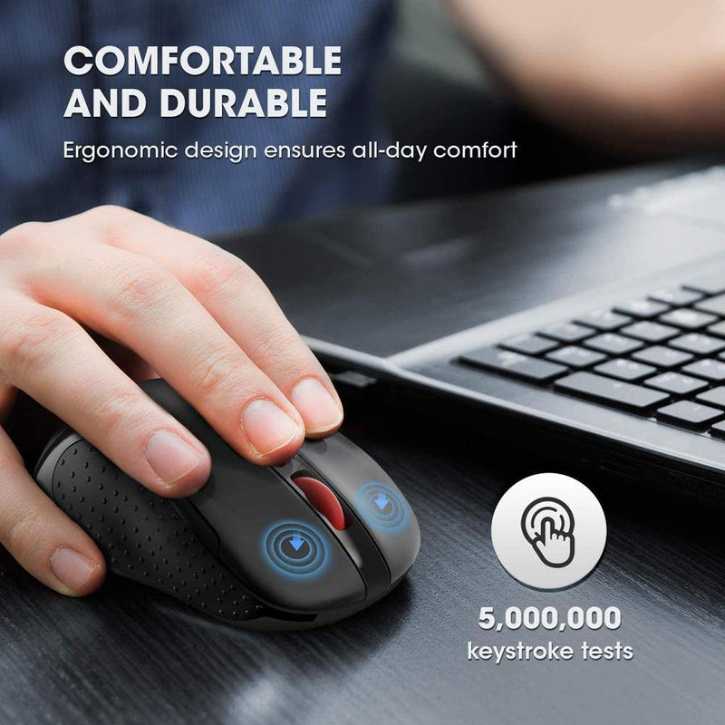 Easterntimes Tech Portable Wireless Mouse 2.4G USB Reciver 5 Adjustable DPI Page Down/Up Buttons [Black]