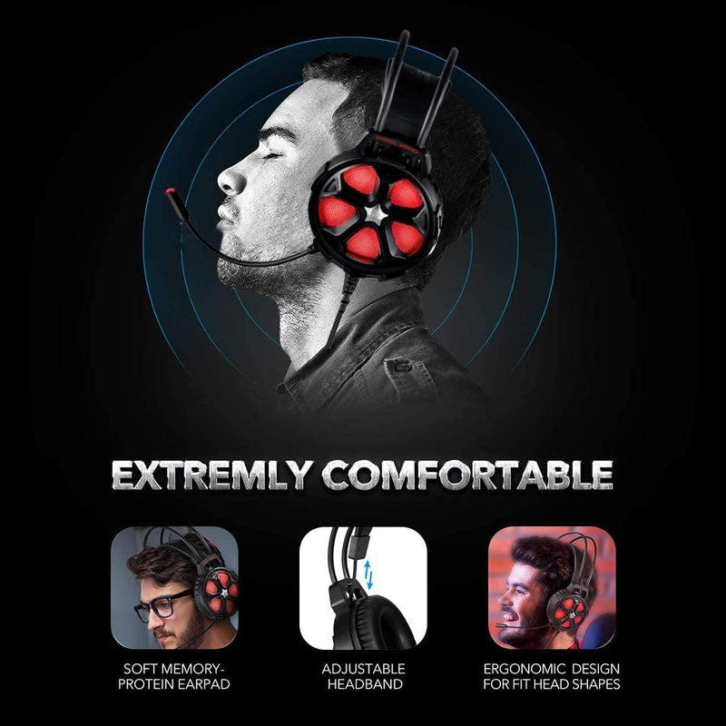 EasySMX Stereo Over Ear Gaming Headphone, for PS4,Xbox, Model: COOL 2000 (Red/Black)