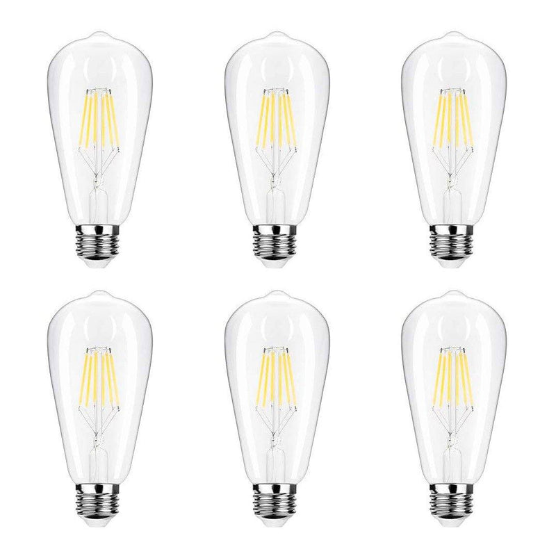 Edison LED Vintage Filament Light Bulbs - ST64 - Pack of 6 -(4W E26-E27)