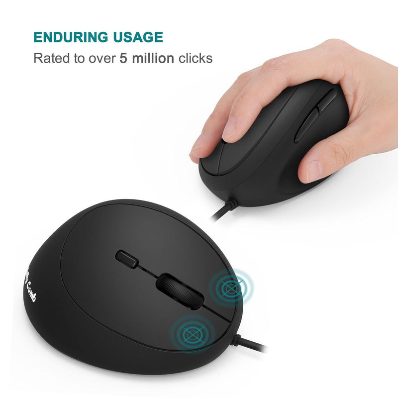 Ergonomic Wired Mouse, Jelly Comb 2.4G Silent Vertical Gaming Mouse Model:WGSB-009B (Black)