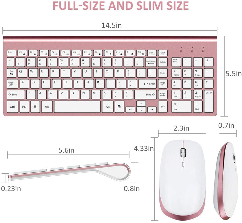 FENIFOX Wireless Keyboard and Mouse Combo (Rose Gold)
