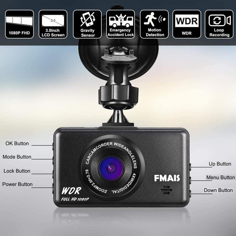 FMAIS Dash Cam 1080P, FMAIS Full HD (Black)
