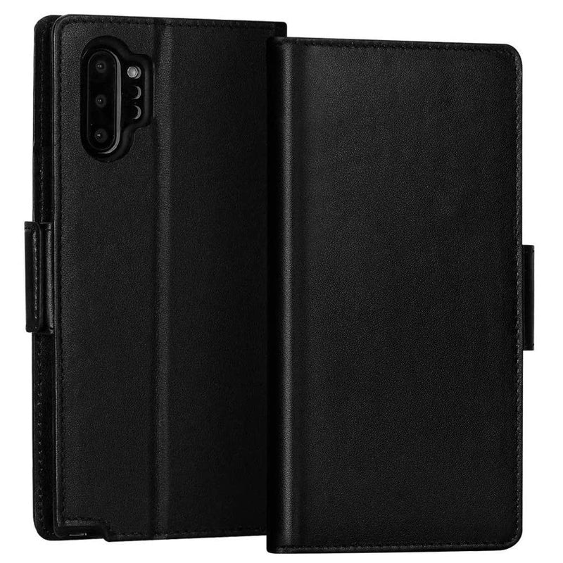 FYY Samsung Galaxy Note 10 Plus Wallet Case with Kickstand and Card Slots (Black)