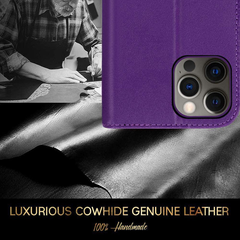 FYY iPhone 11 Pro Max 6.5 Inch Cowhide Genuine Leather Wallet Case (Purple)