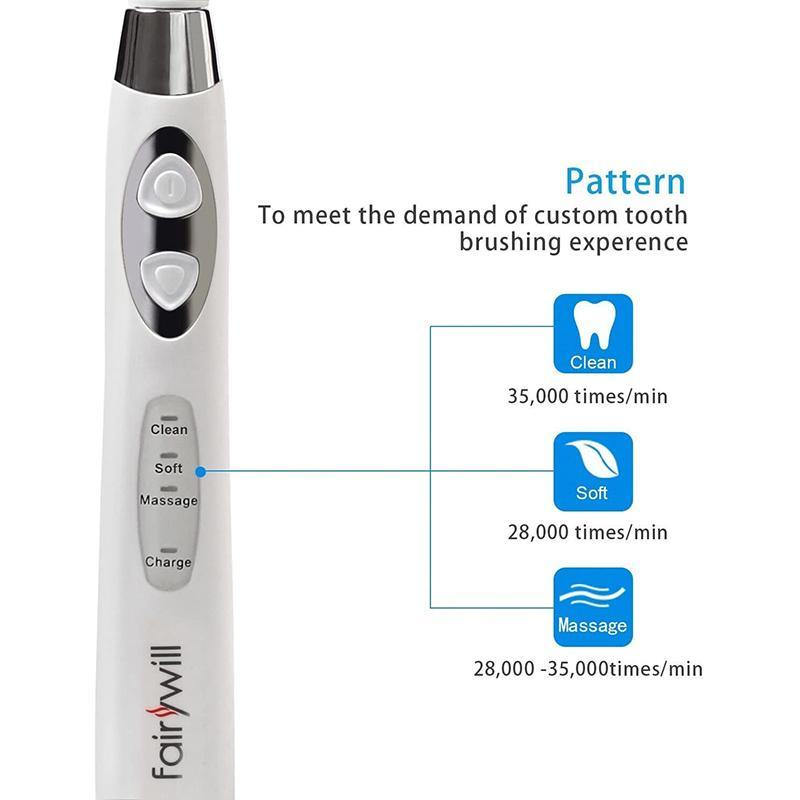 Fairywill Electric Toothbrush Sonic Technology Pro Clean 3 Modes- Model:  FW-917 (White)