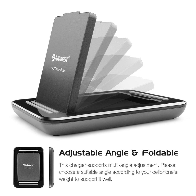 Arbalest Fast Wireless Charger, Angle Adjustable Quick QI Charging Pad Station (Black)