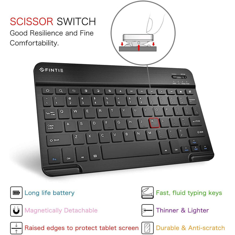Fintie 10-Inch Ultrathin (4mm) Wireless Bluetooth Keyboard for Android Tablet (Black)
