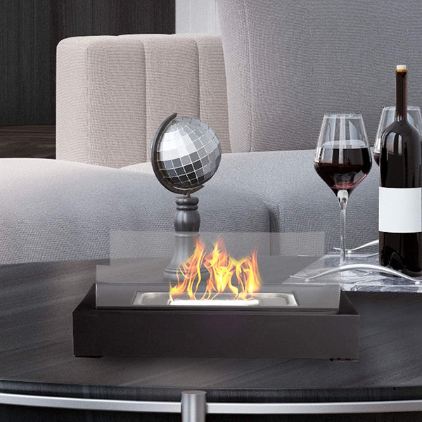 FireFriend Bio Ethanol Ventless Fireplace-Tabletop Rectangular Real Flame Smokeless Clean Burning Model: DF-6500 (Black)