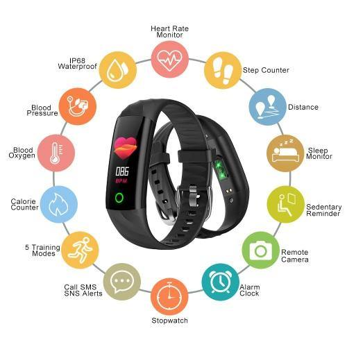 Fitness Tracker With Heart Rate Monitor - Blood Pressure & Blood Oxygen Monitor - Sleep Monitor - IP68 Waterproof Smart - Model: AK1980 - (Black)