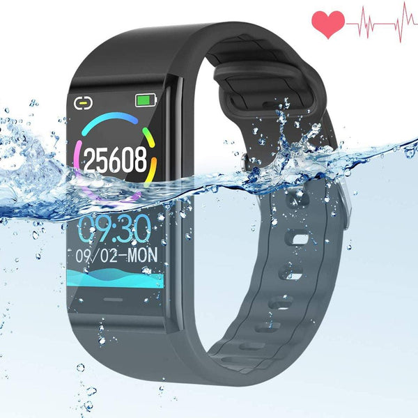 Fitness Watch with Blood Pressure Monitor & Heart Rate Sleep Monitor - Activity Tracker - Step Calorie Counter - Call SMS Reminder - IP68 Waterproof Smart Bracelet - Model: B88 - (Black)