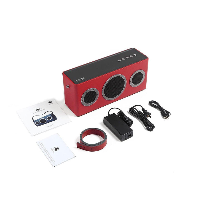 GGMM M4 Leather Wireless Wi-Fi/Bluetooth/Multi-Room Play 40W Speaker With Rechargeable Battery & Removable Strap - Model: WS-401 - (Red/Grey)