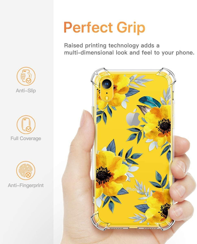GVIEWIN Case for iPhone XR, Clear Flower Pattern Design Soft & Flexible TPU Ultra-Thin Shockproof Transparent Girls and Women Floral Cover