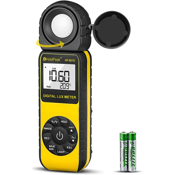 HOLDPEAK Digital Light Meter with Measure Range 1400,000 Lux -Model: 881D (Yellow/Black)