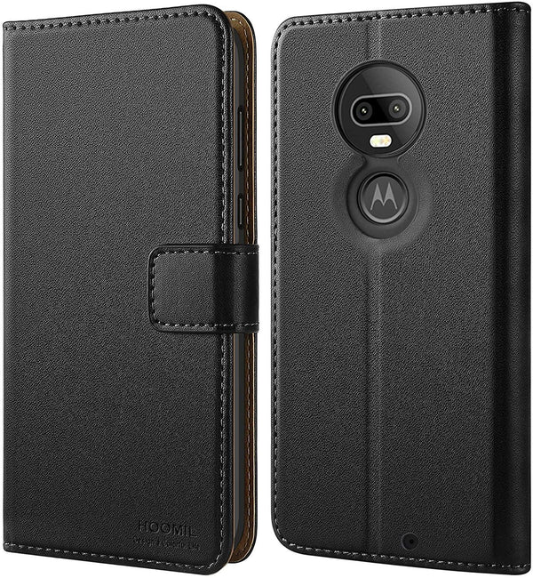 HOOMIL Premium Leather Flip Wallet Phone Case, Compatible with Motorola Moto G7,