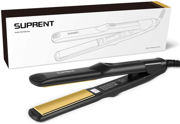 Hair Straighteners 1 Inch, Dual Voltage Flat Iron Straightener Model: FI215B (Black)