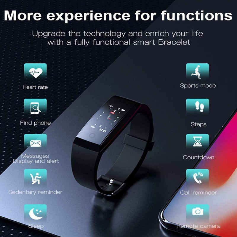 Heart Rate Smart Wristband - Fitness Tracker - Sleep Monitor - Call & Message Reminder - edometer - Sedentary Reminder -Model: W8 - (Black)