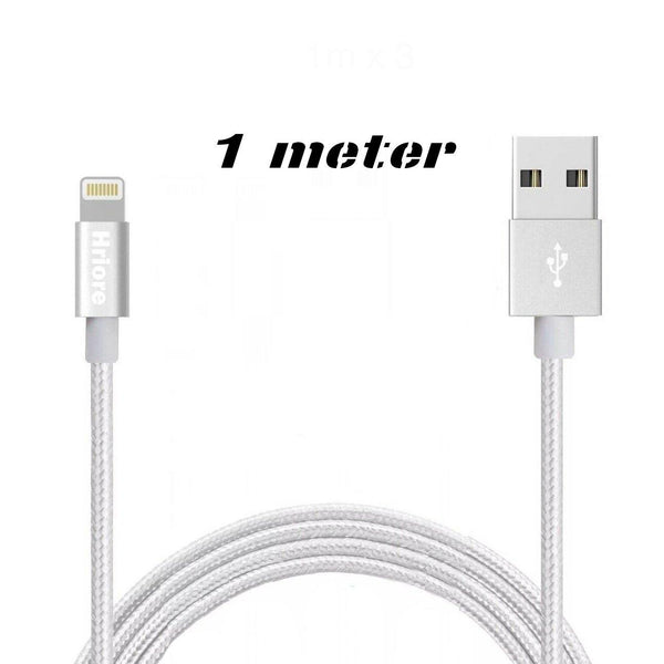 Hriore Nylon Braided Lightning to USB Cable Apple iPhones & iPads-Length: 1m-(Silver)