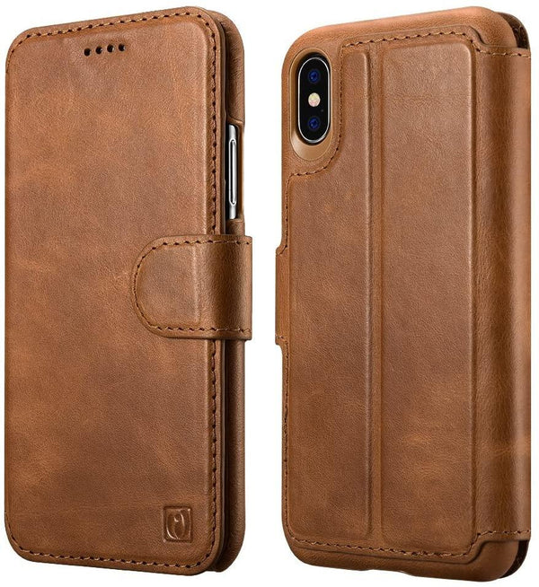 ICARER iPhone X Case, Detachable Genuine Leather Wallet Case: Brown