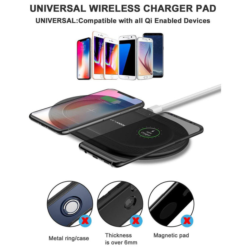 ICONFLANG Wireless Charger, [5W] Dual Wireless Charger Pad - X2 - (Black)