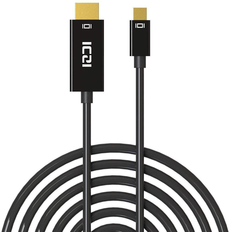 ICZI Mini Display Port Male to HDMI Male Cable (Length: 10ft-3m)-Model: IZEC-A16-(Black)