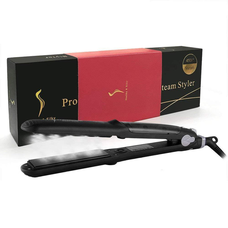 INSHERE Straighter and Curler 2 in 1 Professional Steam Ceramic Flat Iron (Black)