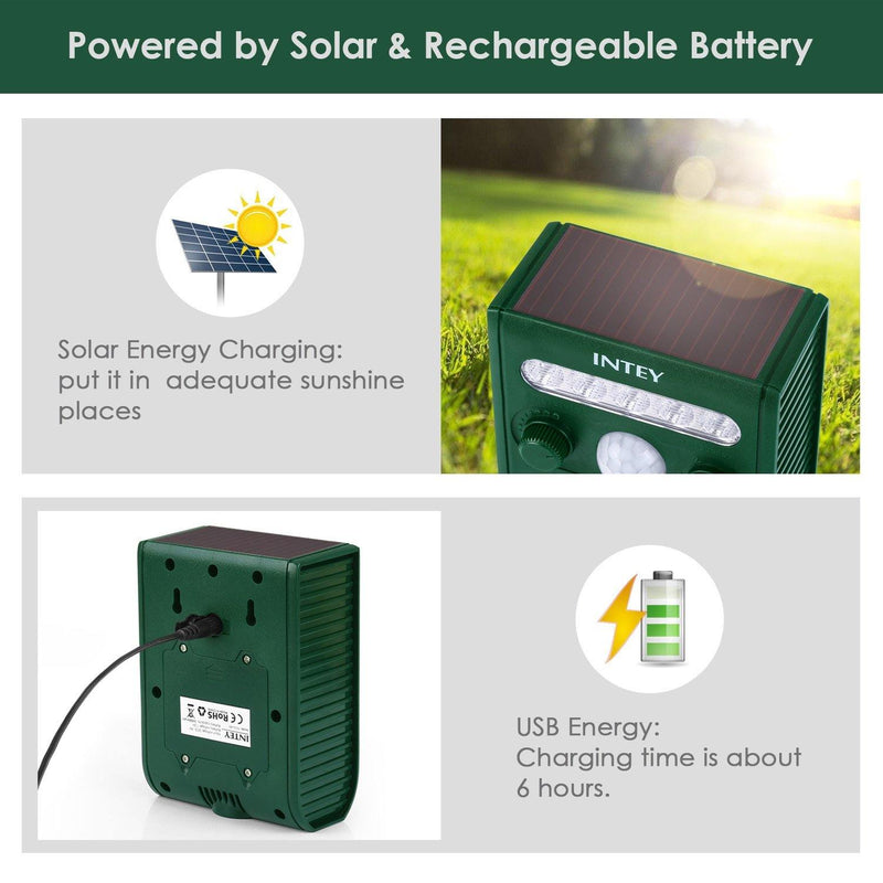 INTEY Ultrasonic Solar Powered Cat Repellent Animal Scarer (GREEN)
