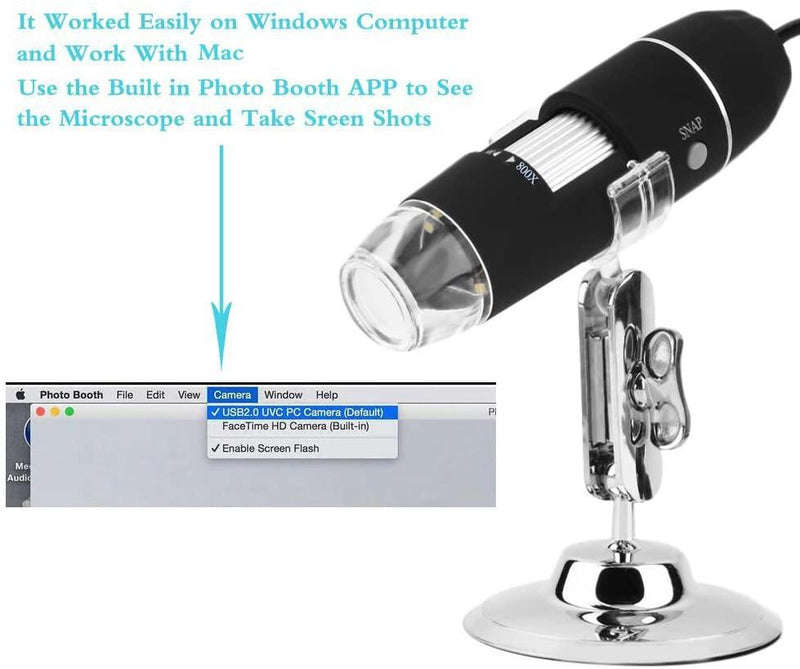 JINGOU Portable USB Digital Microscope 20x-800x Magnification 8-LED with Stand - (Black)