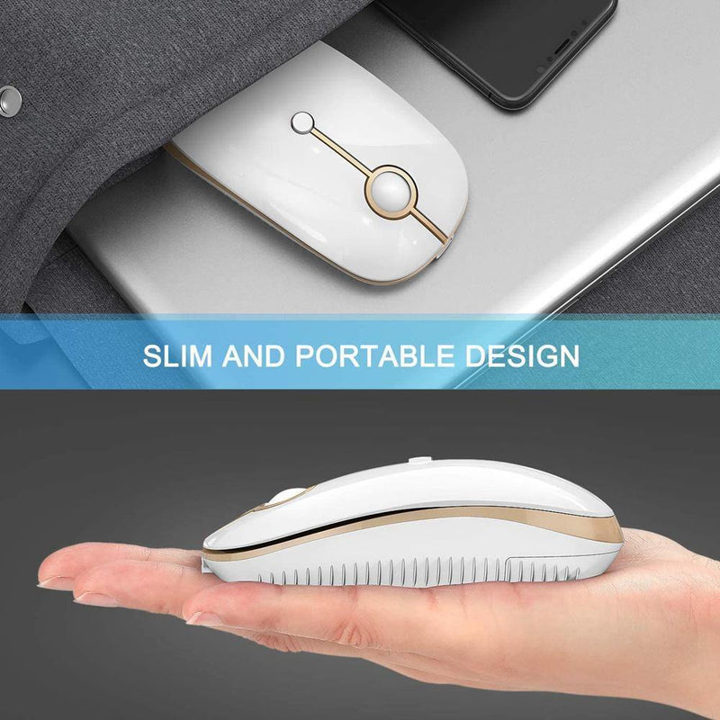 Jelly Comb Slim Noiseless Optical Wireless Mouse with Bluetooth  USB or Type C Connection, Rechargeable 2.4GH Model: MS04
