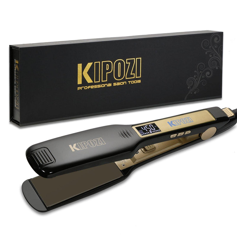 KIPOZI Professional Iron Hair Straightener Digital LCD Display- Model: K-139B (Black)