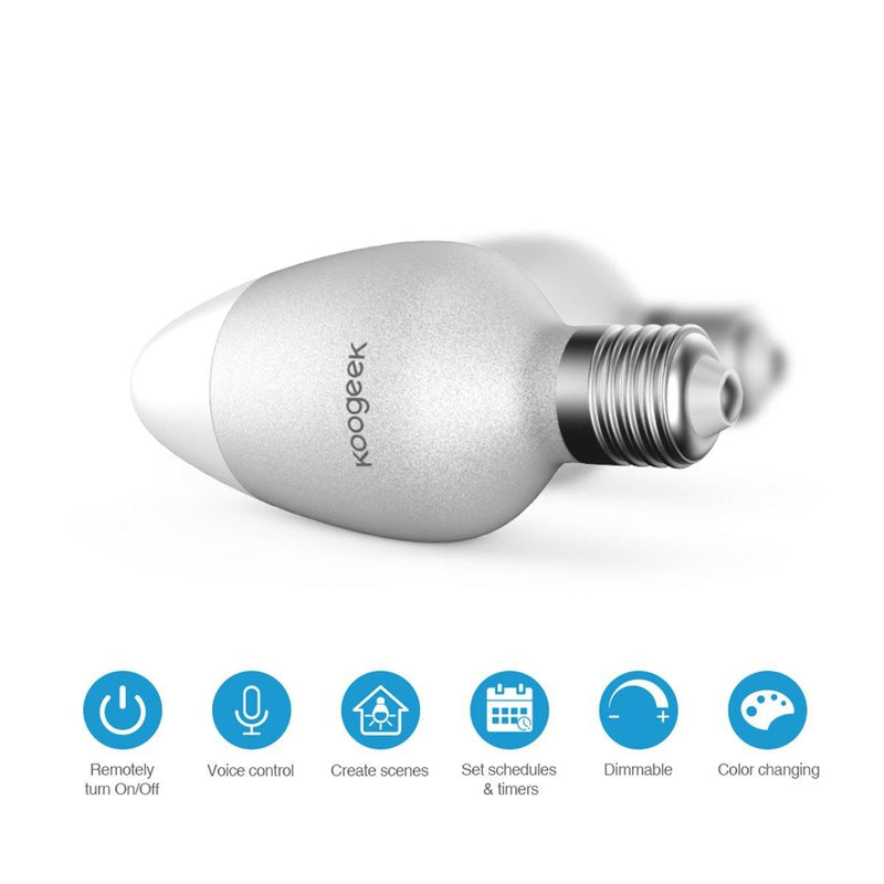 KOOGEEK Smart Light Bulb, Color Changing Dimmable Wi-Fi LED Light Bulbs Compatible Model:LB1EU