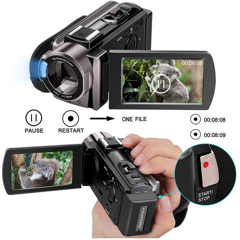 Kenuo Video Camera Camcorder 1080P 24MP 16X Digital Zoom HD- Model: HDV-604S (Black)