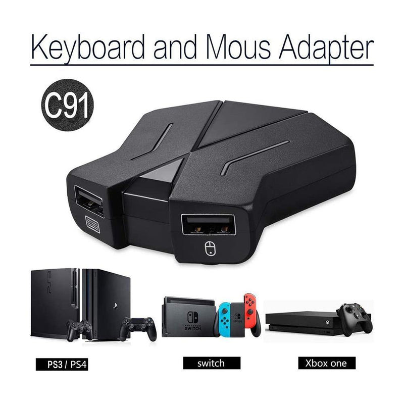 Keyboard and Mouse Adapter with Video Game for PC, PS4, Xbox One, Switch, PS3 - Model: C91 - (Black)