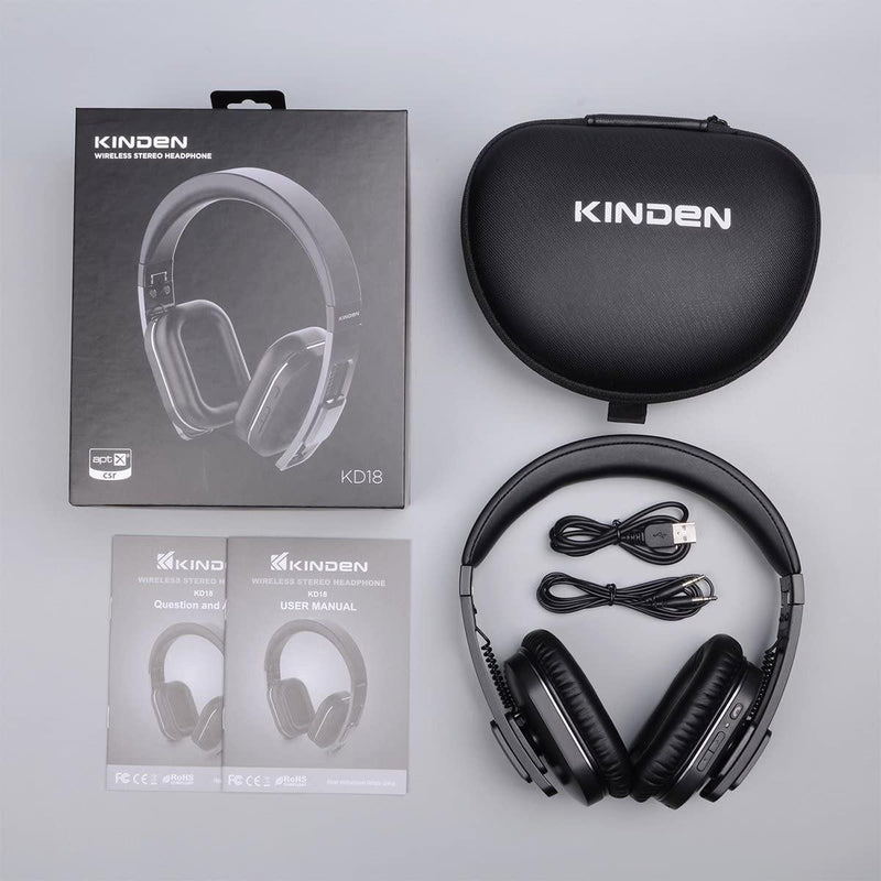 Kinden Wireless Bluetooth Over Ear Headphones-Model:KD18-(Black)