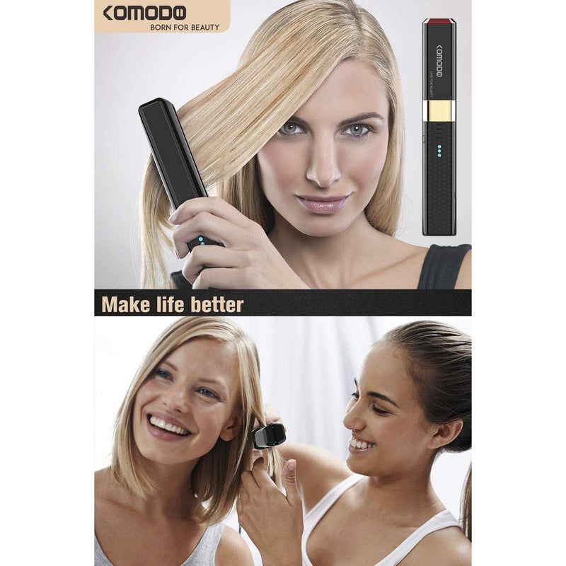 Komodo 2 In 1 Professional Portable Mini Hair Straightener & Curling Iron, Dual Voltage USB Port Charging, Rechargeable Battery - (Black)