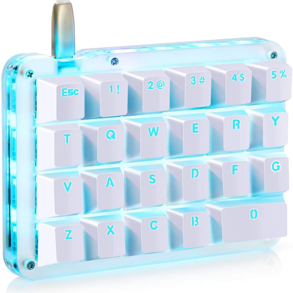 Koolertron One Handed Macro Mechanical Gaming Keyboard Keypad 23 Fully Programmable Keys- (Blue Backlit)