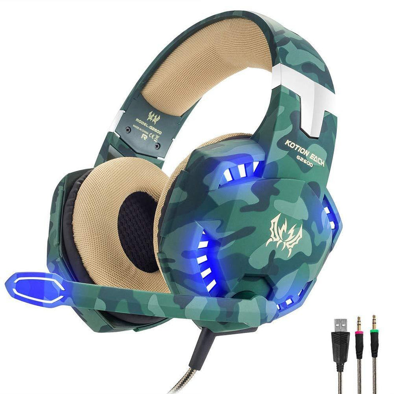 Kotion  EACH 3.5mm Stereo Over-Ear Noise Cancelling Gaming Headphone Mic-Model|: G2600 (Army/Green)