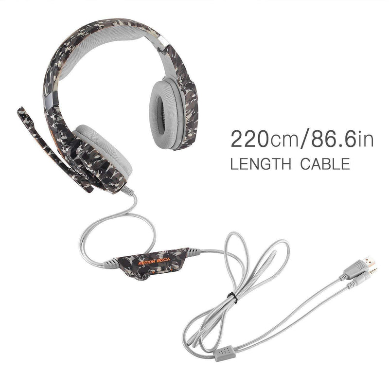 Kotion Each Gaming Headphones, with Mic and LED Light - Model: G9600 (Army Grey)