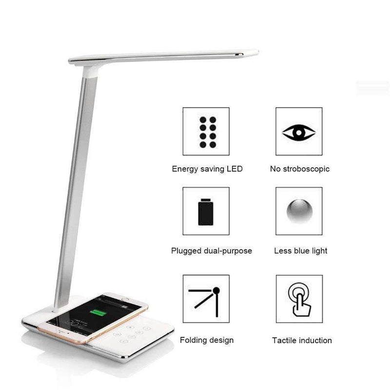 Enlody LED Desk Lamp with Wireless Charger, USB Charging Port - (White)