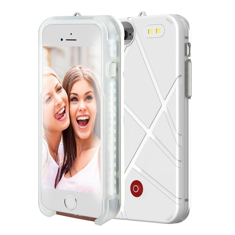 ONTA LED Illuminated Power Bank Battery Charger,Flash Light Cell Phone Case for iPhone 7,(5.5 Inch)(White)