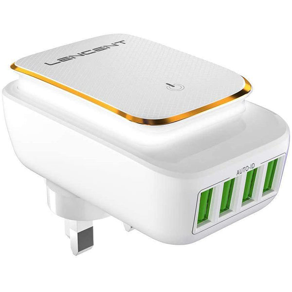 LENCENT 22W Wall Charger, 4.4A, 4 USB Port Touch LED Night Light - Model: PA006 (White)