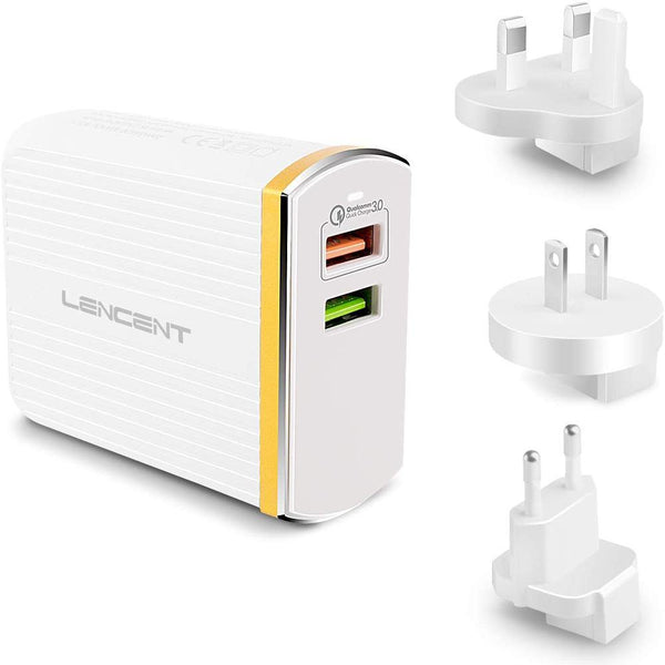 LENCENT PA003 Quick Charge 3.0 Charger, 2 Ports, 30W  [WHITE]
